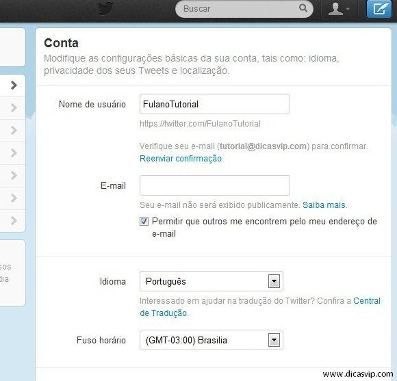 Configure seu perfil do Twitter