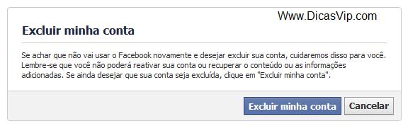 Excluir minha conta no Facebook