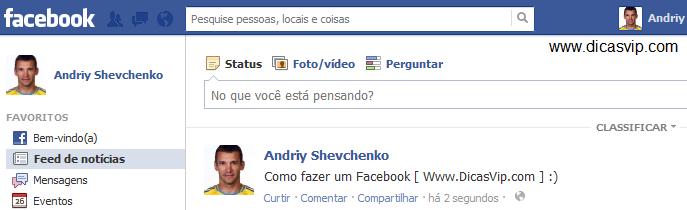 Facebook criado!