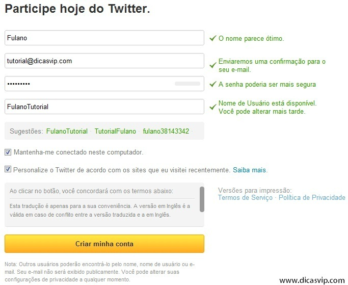 Participe hoje do Twitter